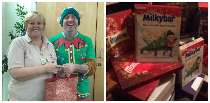 Left: Walnut Care Managing Director David Weatherley dressed as an elf handing a gift bag to a team member. Right: Large pile of advent calendars